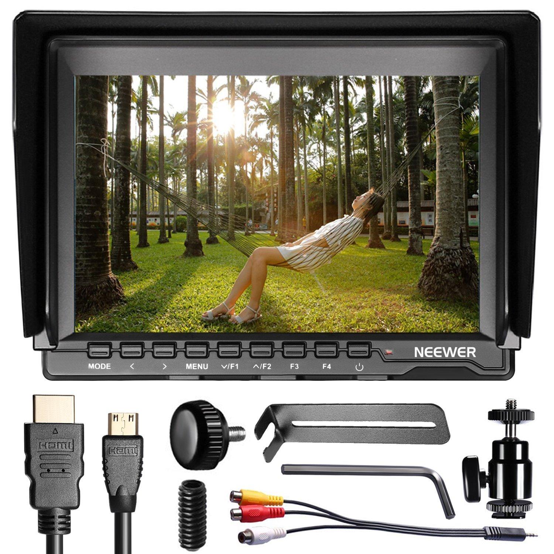 Neewer nw759 7 pulgadas 1280 x 800 IPS pantalla cámara Monitor de campo con 1 Mini HDMI cable para BMPCC, cable AV para FPV, 16: 10 y 4: 3 Relación de pantalla ajustable para Sony Canon Nikon Olympus Penta( La fuente de energía del artículo y la batería no son incluidas)
