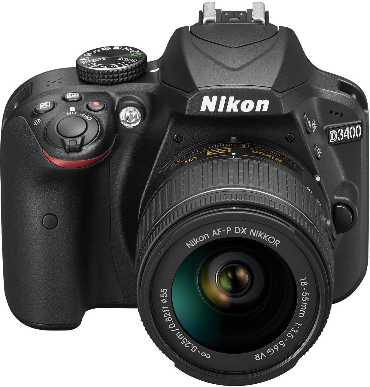 """Nikon D3400 (versión española con acceso a Nikonistas y 6 cursos gratis) - Kit de cámara réflex digital de 24.2 MP con objetivo estabilizado 18-55 AFP DX VR (LCD 3"""", con Snapbridge, vídeo Full HD), color negro"""