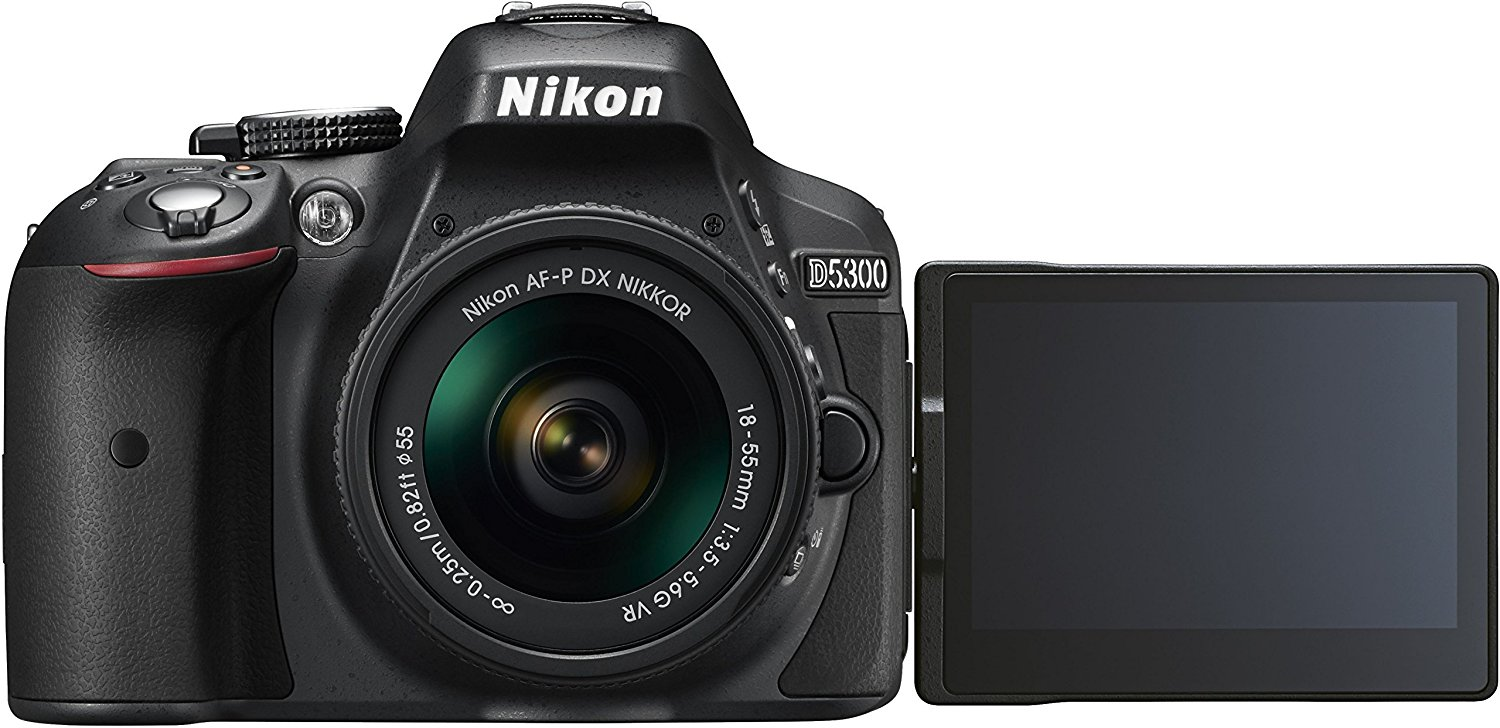 "Nikon D5300 Kit con objetivo AF-P 18-55mm VR - Cámara réflex digital de 24.2 Mp (pantalla 3.2"", estabilizador óptico, grabación de vídeo Full HD), color negro"