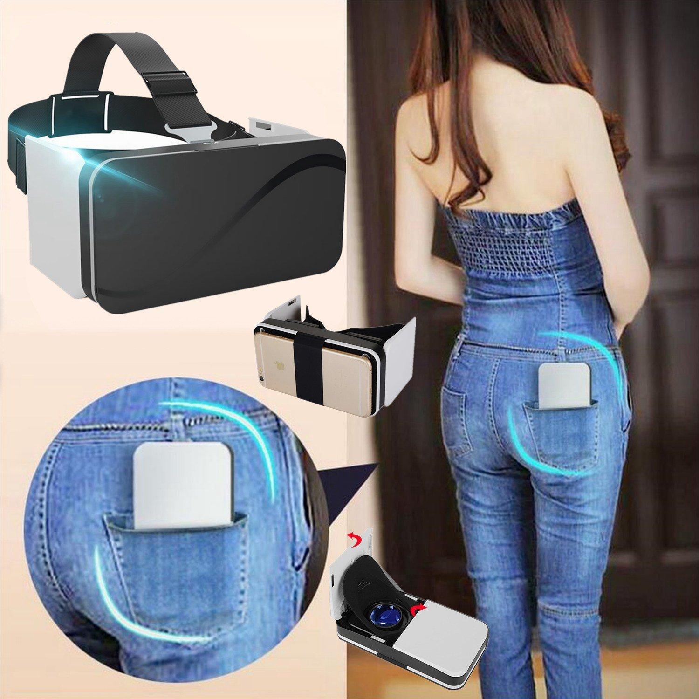 "Pocket VR Auriculares / Visor para Samsung, Plegable Realidad Virtual Gafas [Anti Azul Ray] para Juegos de Películas, 3D VR Goggles Box se adapta para iPhone 8 7 6S 6 Plus Galaxy S8 S7 S6 S5 A7 & More 4.5-6.0"" Celulares"