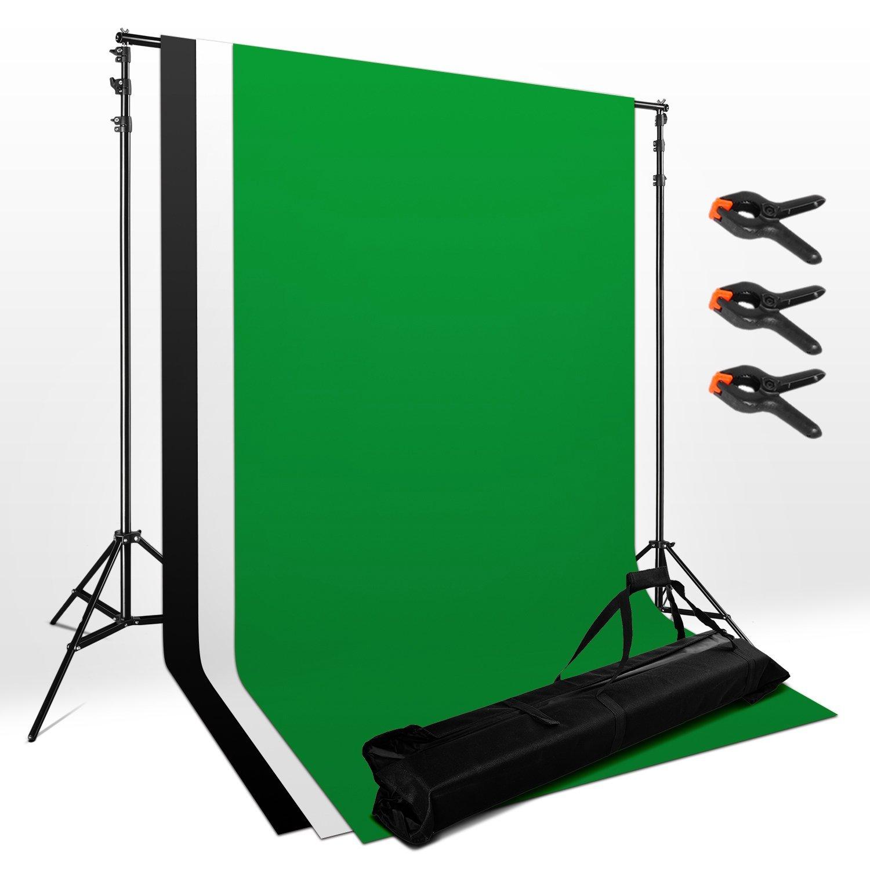 Sistema de telón de fondo ajustable para estudio fotográfico de 1.6m x 3m Pantalla de fondo, Kit soporte fondo - 3 x 3m x 1.6m Fondo sin tejido Blanco Negro Chroma Key Fondos verdes + 2 × 2m Sistema de soporte de soporte + 3 pinzas + Bolsa para fotografía y retrato