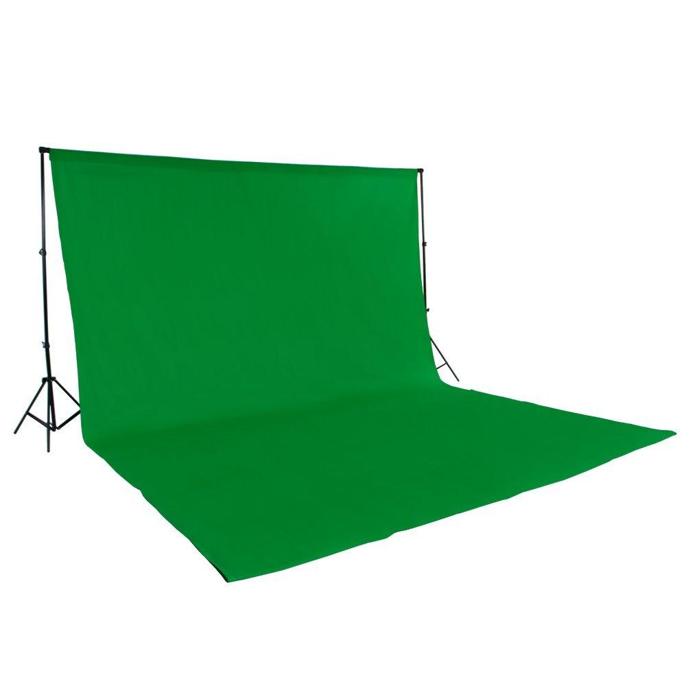 TecTake SET ESTUDIO FOTOGRAFICO SOPORTE FONDOS FOTOGRAFIA Tejido de fondo 6x3m verde