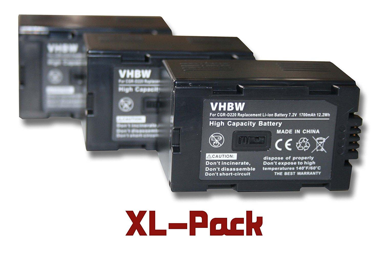 vhbw Set 3 baterías 1700mAh para video cámaras Panasonic NV-DS29 NV-DS3 NV-DS30 NV-DS33 NV-DS35 NV-DS37 NV-DS38 NV-DS55 NV-DS60 NV-DS65