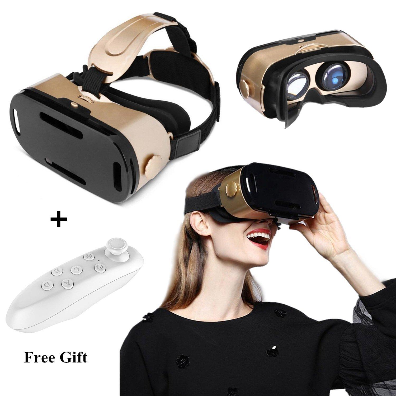 """VR Auriculares con mando a distancia, gafas 3D VR para películas y juegos 3D, gafas de realidad virtual para iPhone 8 Plus/7 Plus/6S/6 Plus, Samsung Galaxy S8/S7 Edge/S6/A5/A3 y otros teléfonos móviles de 4,7-6,0"""", color dorado"""
