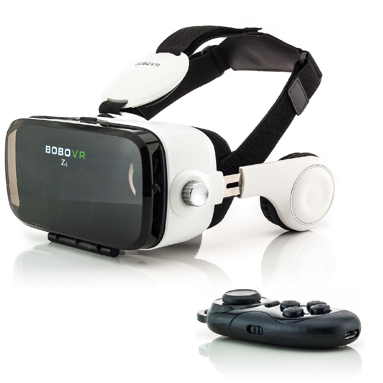 Zanasta VR Gafas 3D VR Realidad Virtual con Auriculares + Bluetooth Controlador Universal Visor Virtual Reality Video Juegos simulación Gaming Headset ajustable para Apple iPhone, Samsung Galaxy, Sony Xperia y muchos más