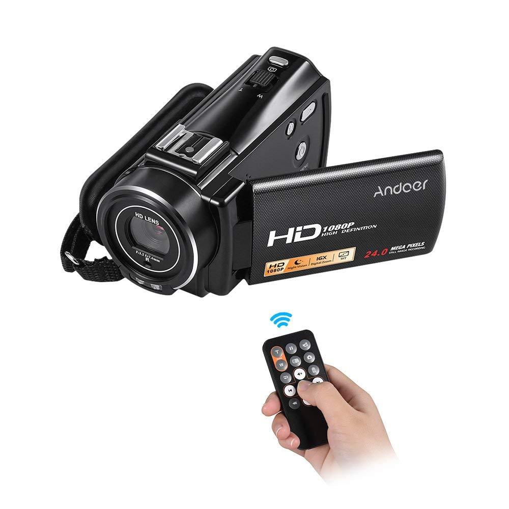 """Andoer hdv-v7Plus 1080P Full HD 24MP cámara de vídeo digital portátil videocámara con control remoto por infrarrojos visión nocturna 16x Zoom 3.0""""Rotary LCD con Hot Shoe Mount"""