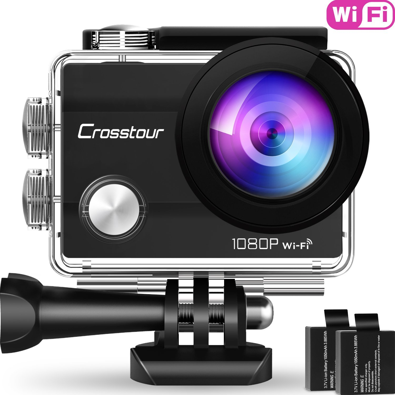 Crosstour Wifi Cámara Deportiva Acción 1080P Full HD 2.0 LCD Pantella Cámara Impermeable 2 Baterías 1050mAh 170 Grados Gran Ángulo Sumergible 30m y 20 Accesorios Multiples