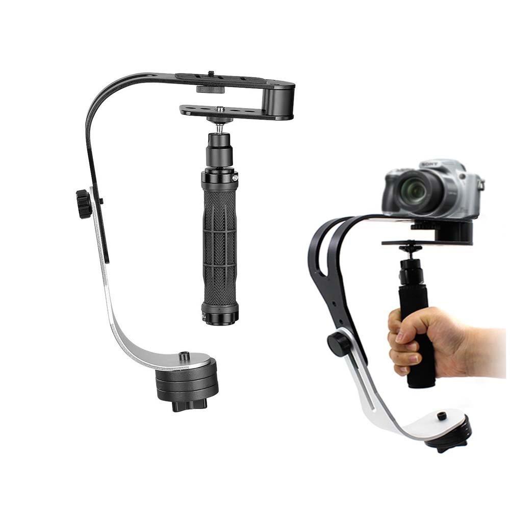 Estabilizador, CAM-ULATA Profesional Mini Portátil Steadycam Vídeo Estabilizador de Mano de Aleación de Aluminio para Gopro Canon Sony Nikon Pentax DSLR SLR DV Cámara Digital Smartphone Móvil Videocámara Hasta 2,1 libras, Negro