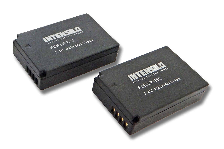 INTENSILO 2x Baterías Li-Ion 820mAh (7.4V) para Video cámara Canon EOS Rebel SL1 y batería LP-E12.