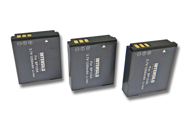 INTENSILO 3x Li-Ion batería 1250mAh (3.7V) para videocámara cámara de vídeo Samsung HMX-QF20, HMX-QF20BP, HMX-QF30WP, HMX-T10 por IA-BP125A.
