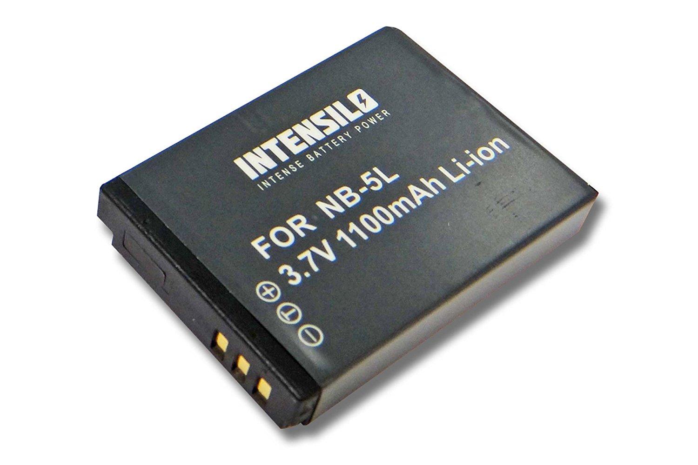 INTENSILO Li-Ion batería 1100 mAh (3.7V) para cámara videocámara Video CANON POWERSHOT SX120 is, SX200 is, SX210 is, SX220 hs, SX230 hs por NB-5L.