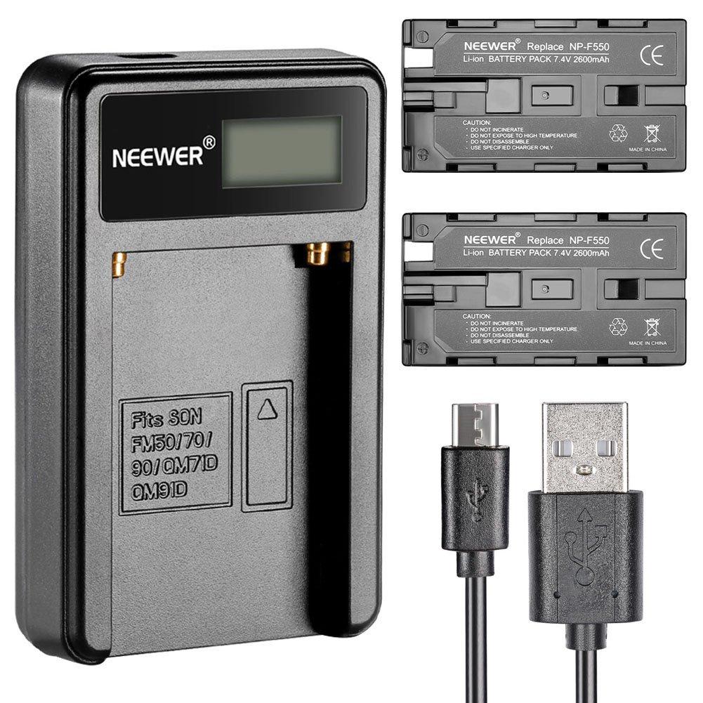Neewer® Micro USB Cargador De Batería +2-Paquete 2600mAh NP-F550/570/530 Batería De Reemplazo Para Sony Cámara De Mano, Neewer Nanguang CN-160,CN-216, CN-126 LED Luz,Polaroid Vídeo Luces De Cámara