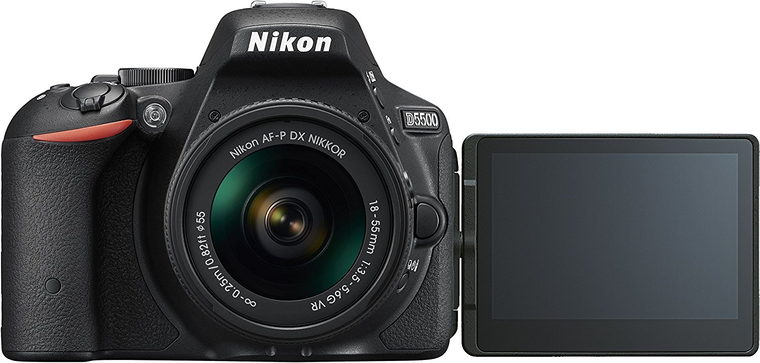 "Nikon D5500- Cámara réflex digital de 24.2 Mp (pantalla 3.2"", estabilizador óptico, grabación de vídeo Full HD), color negro - kit con objetivo AF-P 18-55mm VR"