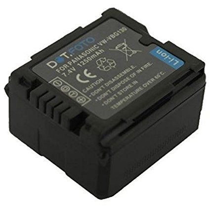 Panasonic VW-VBG130 PREMIUM Dot.Foto Batería de Reemplazo - ~ 7.2v 7.4V/1250mAh - Garantía de 2 años [Vea compatibilidad en la descripción]
