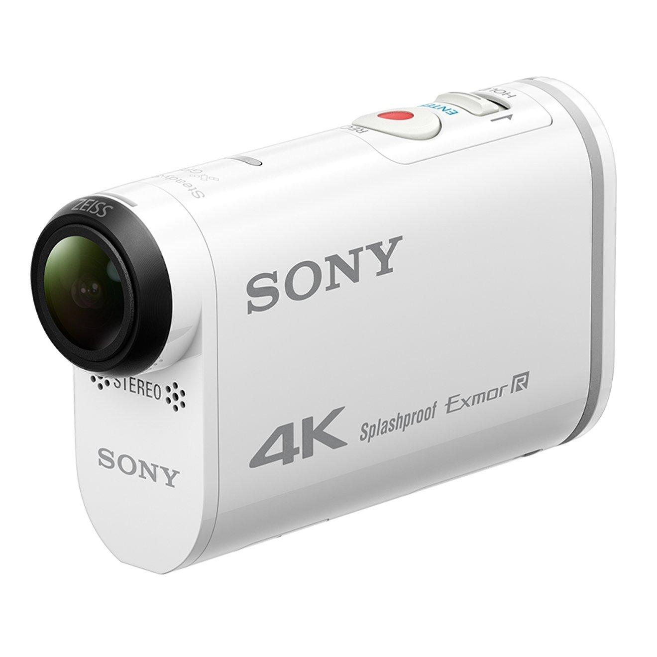 Sony Action Cam FDR-X1000V - Videocámara deportiva (video 4K, resistente a salpicaduras con WI-FI, NFC, GPS y funda resistente al agua), blanco