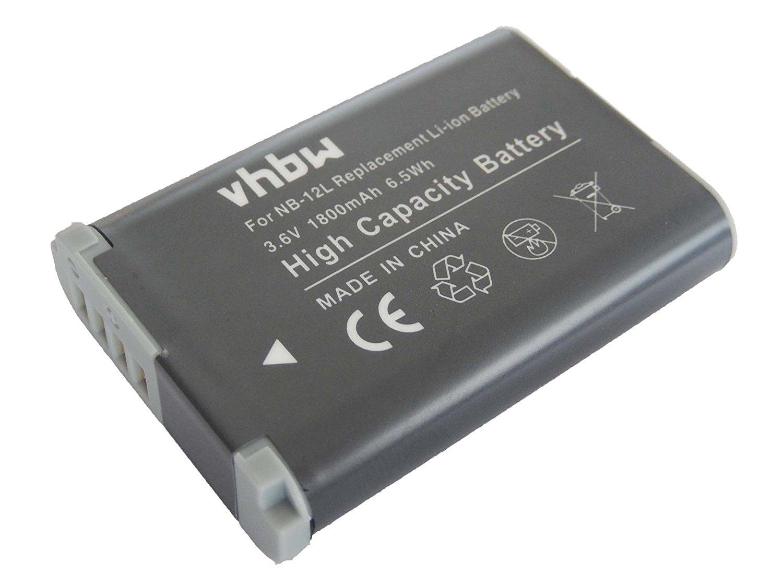 vhbw Li-Ion batería 1800mAh (3.7V) para cámara de vídeo Canon PowerShot G1X Mark 2, G1X Mark II, N100 por NB-12L.