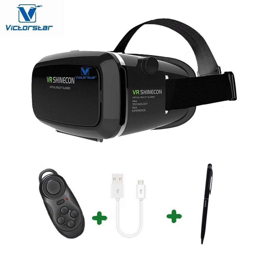 VICTORSTAR @ 3D gafas + Controlador Remoto Bluetooth, 3D VR Auricular Caja de Realidad Virtual Con la Lente Ajustable y Correa, Adecuados Para el iPhone 5 5s 6 más Samsung S3 Nota Borde 4 y 3.5 a 6.0 Pulgadas Teléfono Inteligente Para Películas y Juegos en 3D