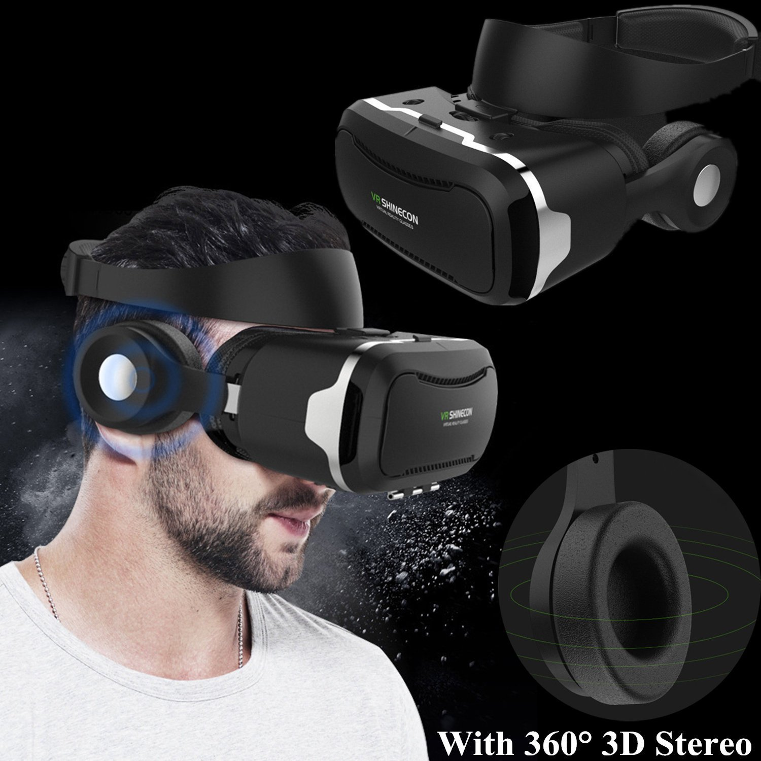 "3d Realidad Virtual móvil, bevifi VR móvil/gafas con batería y mando a distancia integrado Bluetooth 3d Auriculares para 4.5 – 6.0 ""Android/iOS para Samsung Galaxy S7 Edge S6, iPhone 7 6 6S Plus etc."