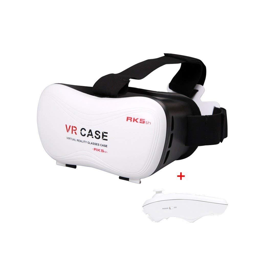 3D VR Case 5.0 3D Gafas de realidad virtual Google Cartón para toda la lente óptica 3,5-6,0 '' teléfono con Controlador remoto Bluetooth(Color Blanco)