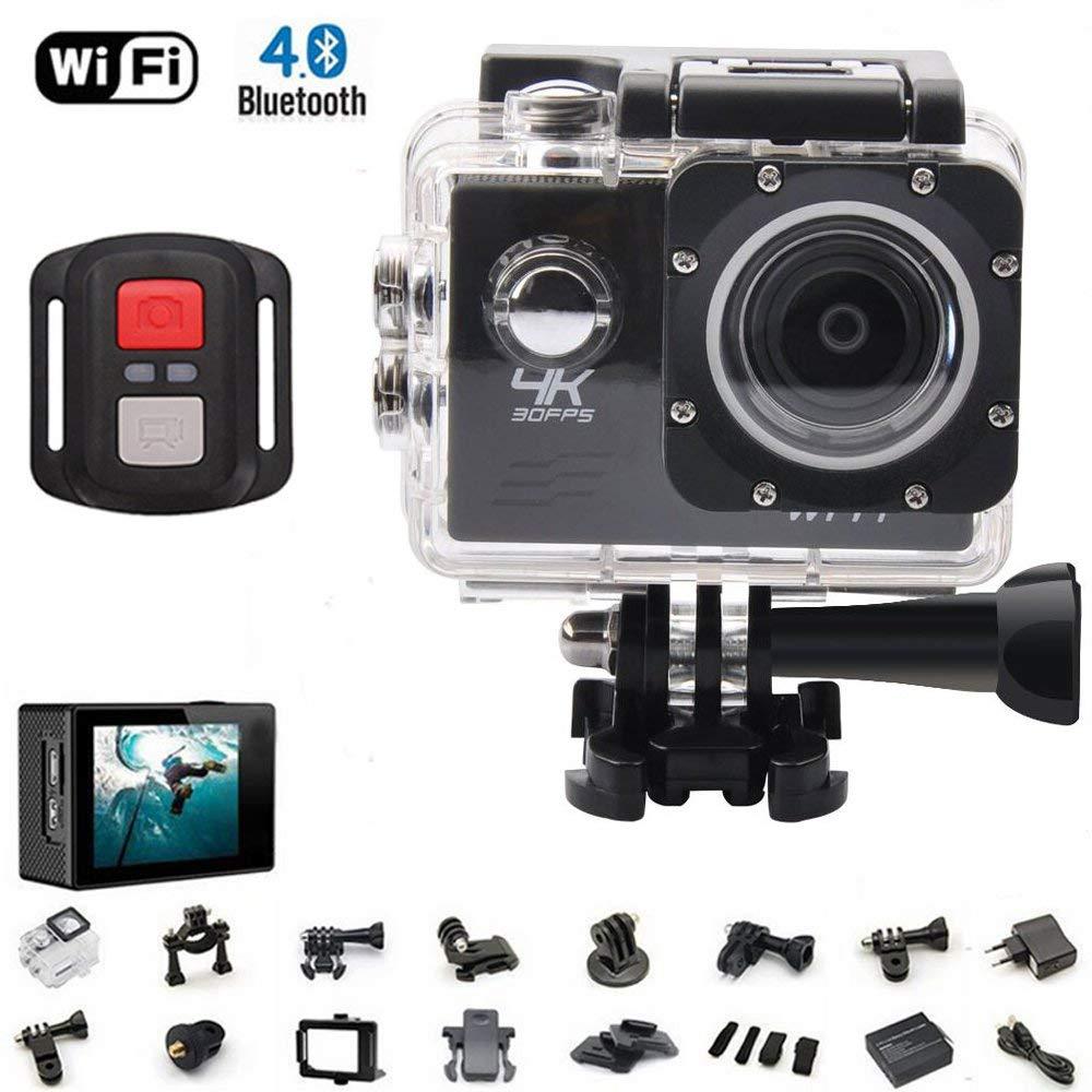 4K deporte cámara de acción Ultra HD videocámara WiFi resistente al agua cámara de 16Mp 170grado amplia ángulo de visión 2pulgadas pantalla LCD W/2.4G mando a distancia Batería Pilas 19accesorios kits