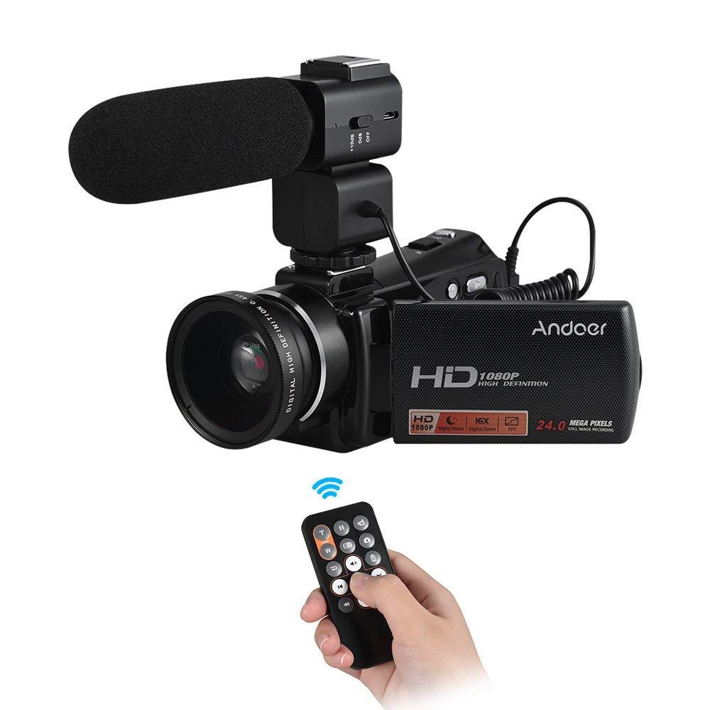 "Andoer hdv-v7Plus 1080P Full HD 24MP cámara de vídeo digital portátil videocámara con control remoto por infrarrojos visión nocturna 16x Zoom 3.0""Rotary LCD + micrófono externo + 0.45x gran angular Objetivo"