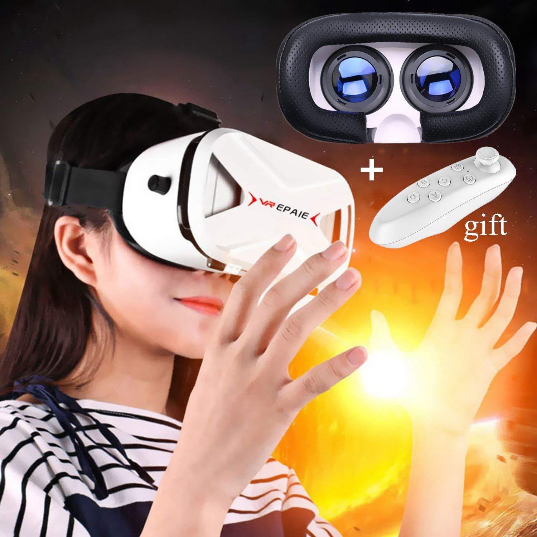 """Bevifi - Auriculares de realidad virtual 3D, VR, gafas y auriculares con mando a distancia Bluetooth para juegos de películas 3D, gafas de realidad virtual para teléfonos iOS Android de 4,0 a 6,0"""", versión 2017"""