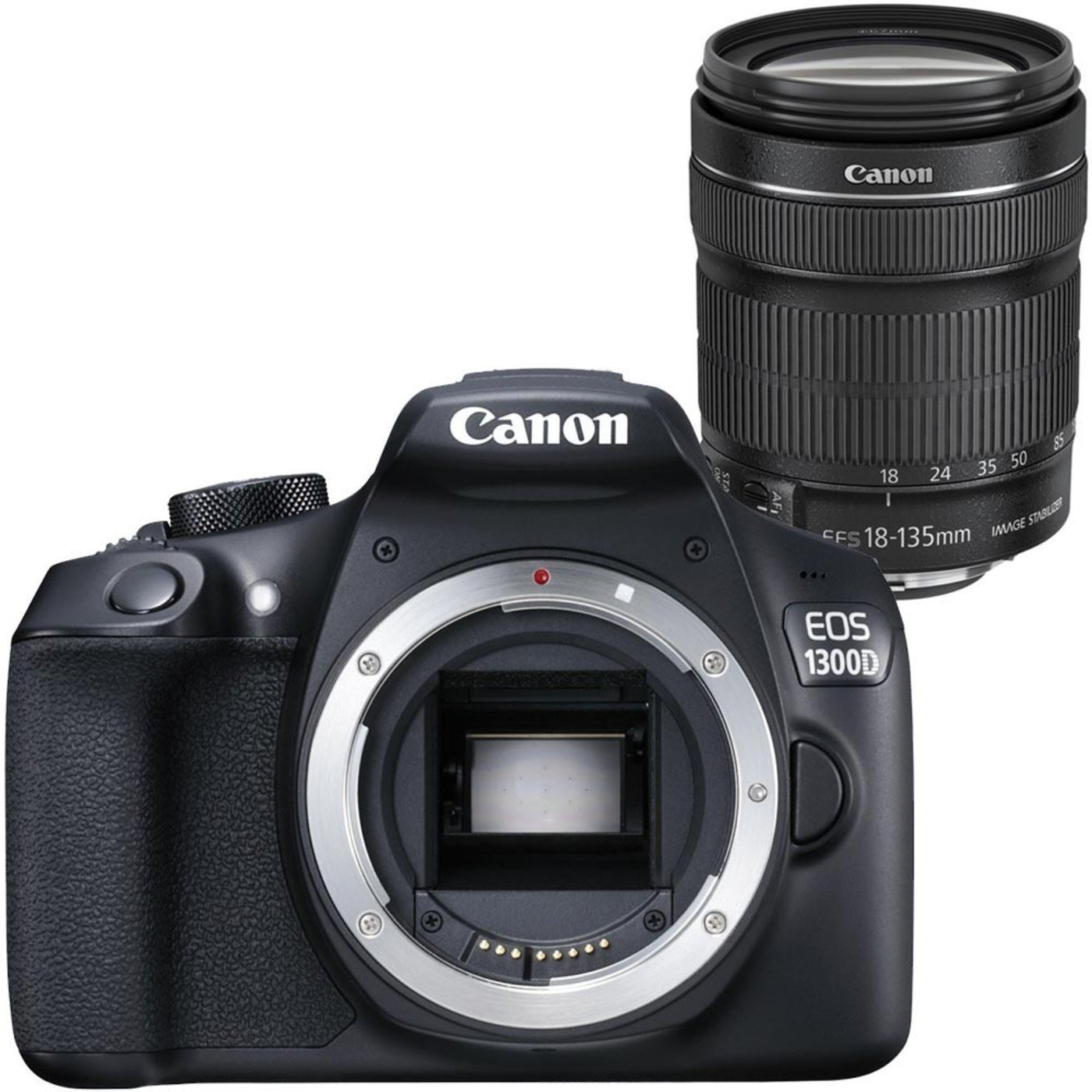 Canon EOS 1300D - Cámara Reflex DE 18 MP (Pantalla de 3'', Full HD, 18-135 mm IS, NFC, WiFi), Color Negro - Kit con Objetivo EF-S 18-135 mm IS