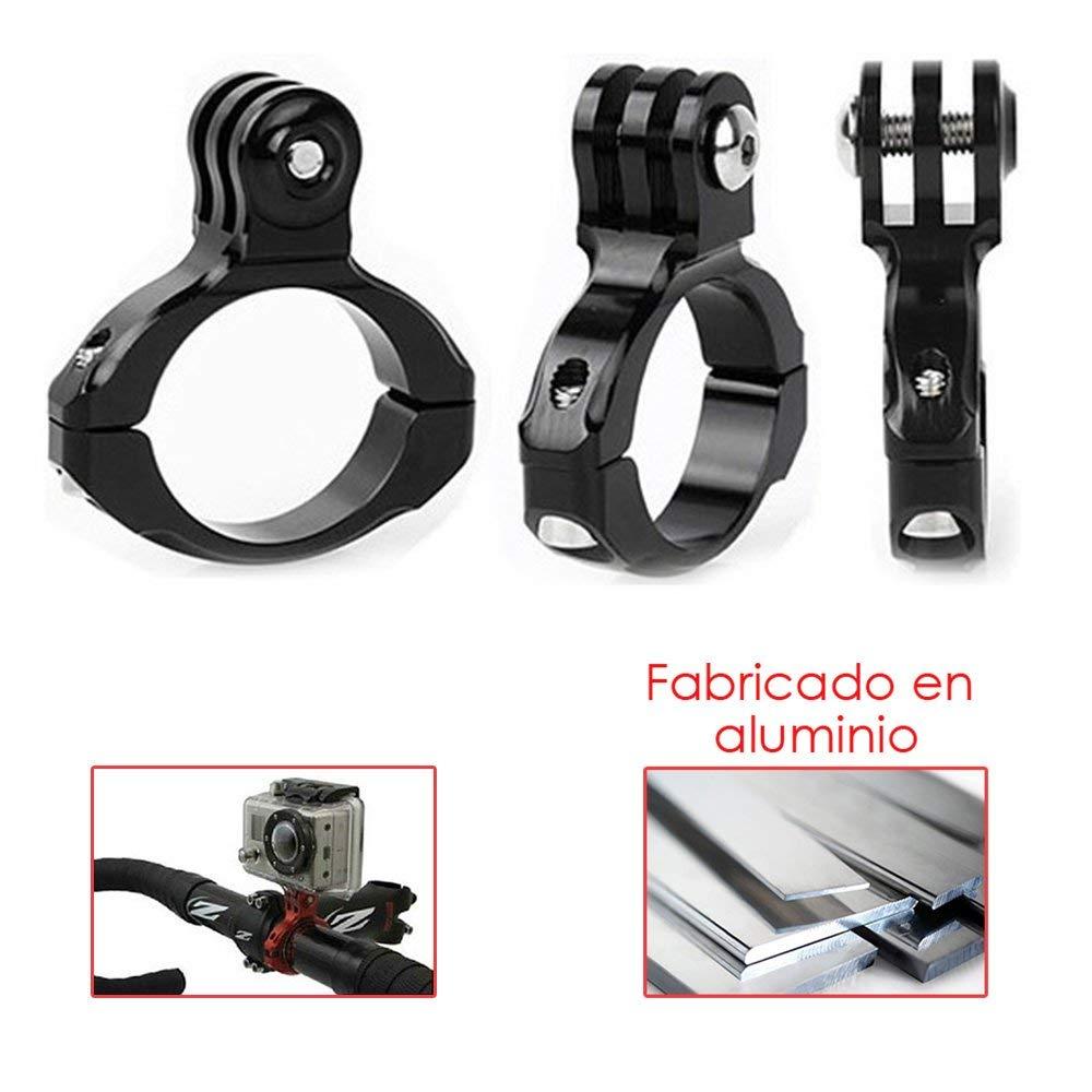 Donkeyphone - Pack Soporte Tubular Aluminio + LLAVEN Allen + 2X Adhesivos para GOPRO Hero 2/3/3+/4/5/6/2018/SESSION (Todos LOS Modelos Black, Silver Y White), Fusion, XIAOMI YI Y SJ