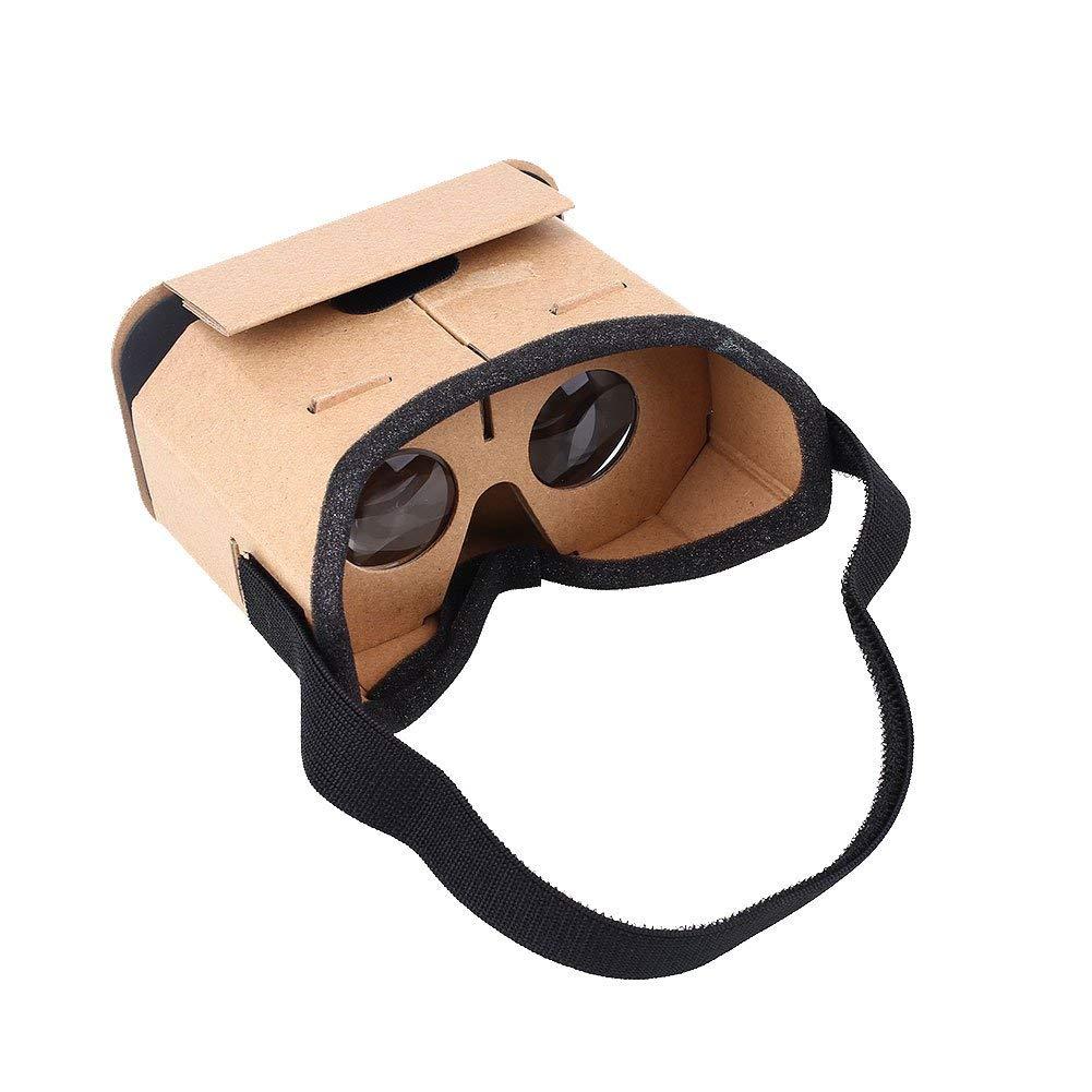 hongfei Gafas de cartón, gafas de realidad virtual VR 3D, auriculares de bricolaje VR para películas en 3D y juegos compatibles con Android y Apple Máquina de configuración fácil de hasta 6 pulgadas