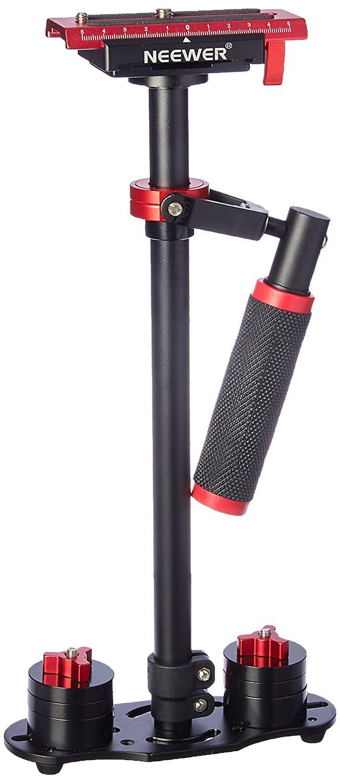Neewer Aleación de Aluminio 24 pulgadas/ 60 centímetros Estabilizador de mano con Tornillo 1/4 3/8 pulgada Placa de zapata rápida para Canon Nikon Sony y otras cámaras DSLR Vídeo DV hasta 6,6 libras/ 3 kilogramos (Negro + Rojo)
