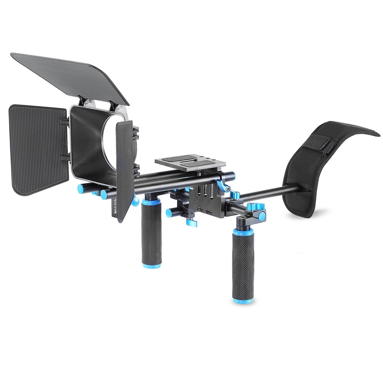 Neewer® DSLR película Kit de juego de hacer Rig Sistema de Video para Videocámara o DSLR Cámara Tales como Canon Nikon Sony Pentax Fujifilm Panasonic, incluyen: (1) soporte de hombro + (1) Barra de 15mm Rod sistema + (1) caja mate