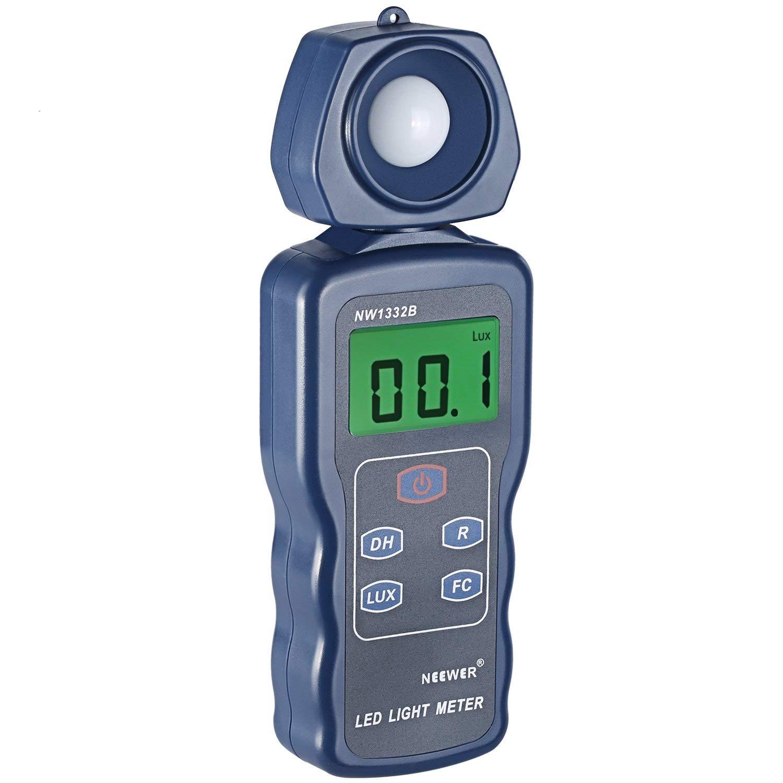 Neewer Medidor de luz LED digital Luxómetro Medidor iluminación de mano con ingeniería alemana de sensor óptico, pantalla LCD, 270 grados de detector rotativo, rango de 0,1-200.000 Lux/0,01FC-20.000FC