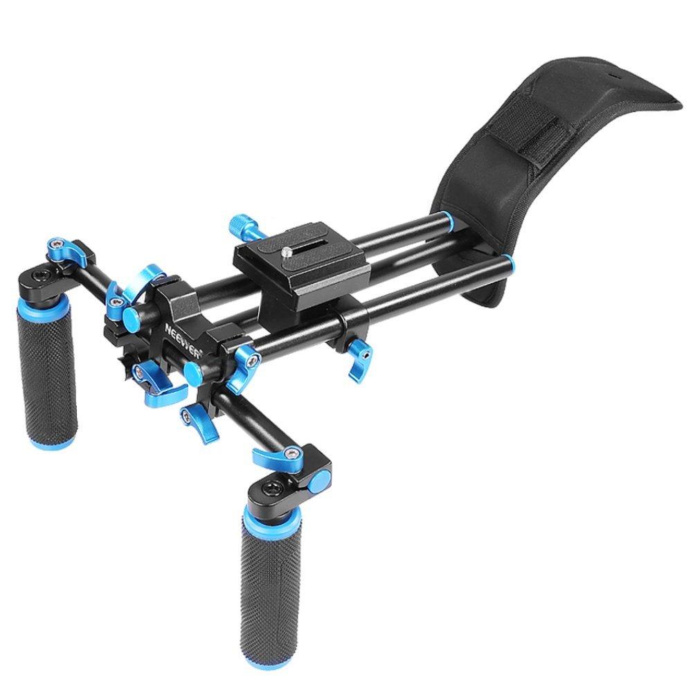 Neewer - Soporte de montaje DSLR de hombro con deslizador de montaje para cámara y videocámara, mango de doble mano y almohadilla en forma de C para todo tipo de cámaras y video cámaras