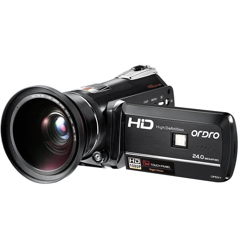 ORDRO IR Videocámara de Visión Nocturna con Lente Gran Angular Control Remoto Full HD 1080p 24 MP 18X Zoom Digital Cámara de Video Portátil con WIFI (HDV-D395)
