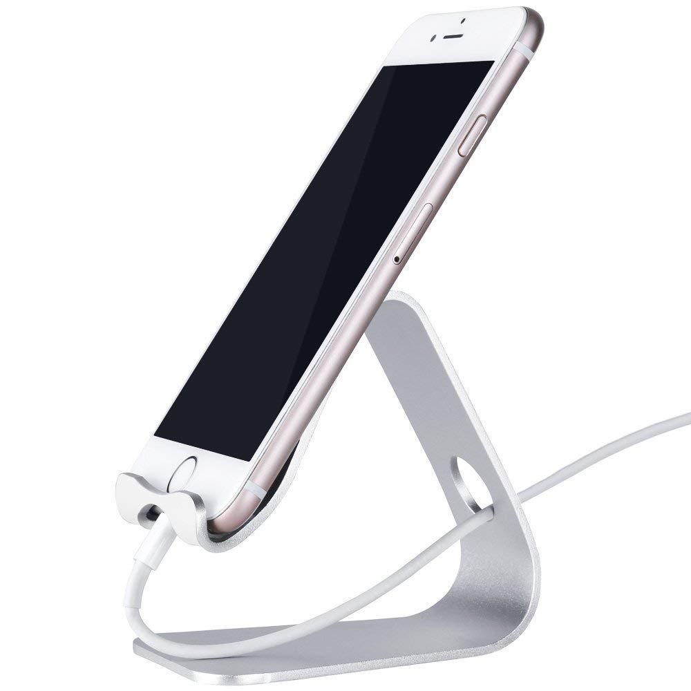 Rovtop Soporte Móvil Soporte del Teléfono Celular Mesa Ajustable Para Todos Smartphone Android, iPhone 6 6s 7 Plus 5 5s 5c de Carga, accesorios de escritorio - plata