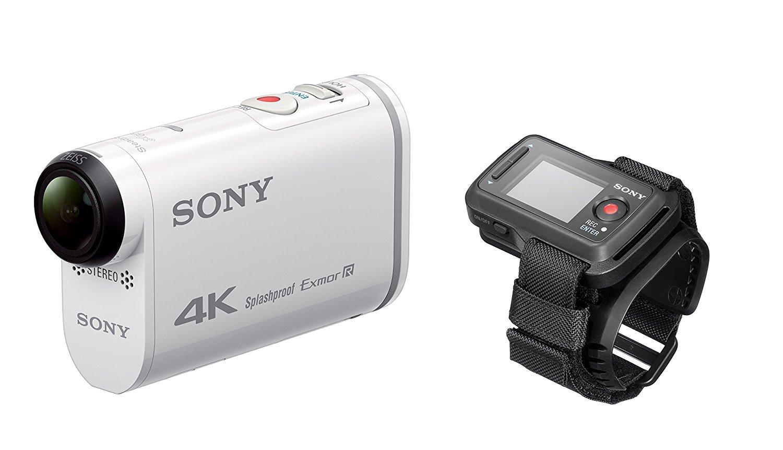 Sony Action Cam FDR-X1000VR - Videocámara deportiva (video 4K, resistente a salpicaduras con WI-FI, NFC, GPS y kit de mando a distancia Live-View), blanco