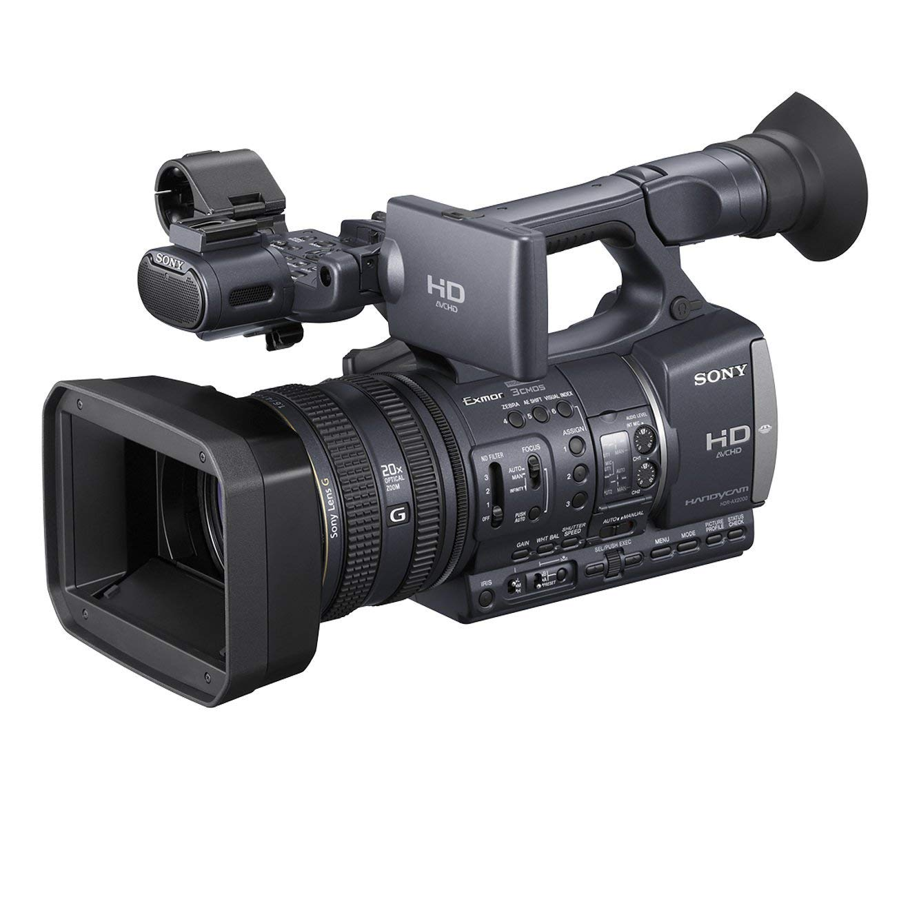 "Sony HDRAX2000EH - Videocámara profesional (1.12 Mp, pantalla de 3.2"", zoom óptico 20x, estabilizador), negro"