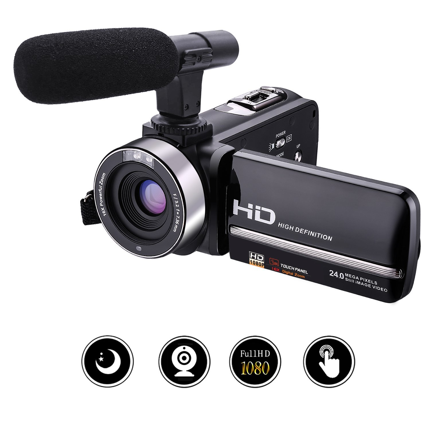 "Videocamara Full HD 1080p 30fps 24.0 MP Camera de Video con Micrófono Externo Cámara de Visión Nocturna Webcam 3"" Pantalla Táctil Videocámara Digital"