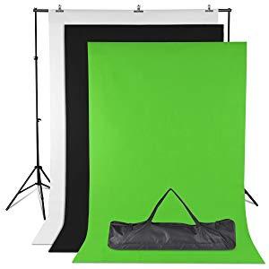 Amzdeal Kit de Fondos Fotográficos No Tejidos 1.6*2m de 3 Colores Negro\Blanco\Verde con Soporte de fondo 2*3m y 2 pinzas para la Fotografía