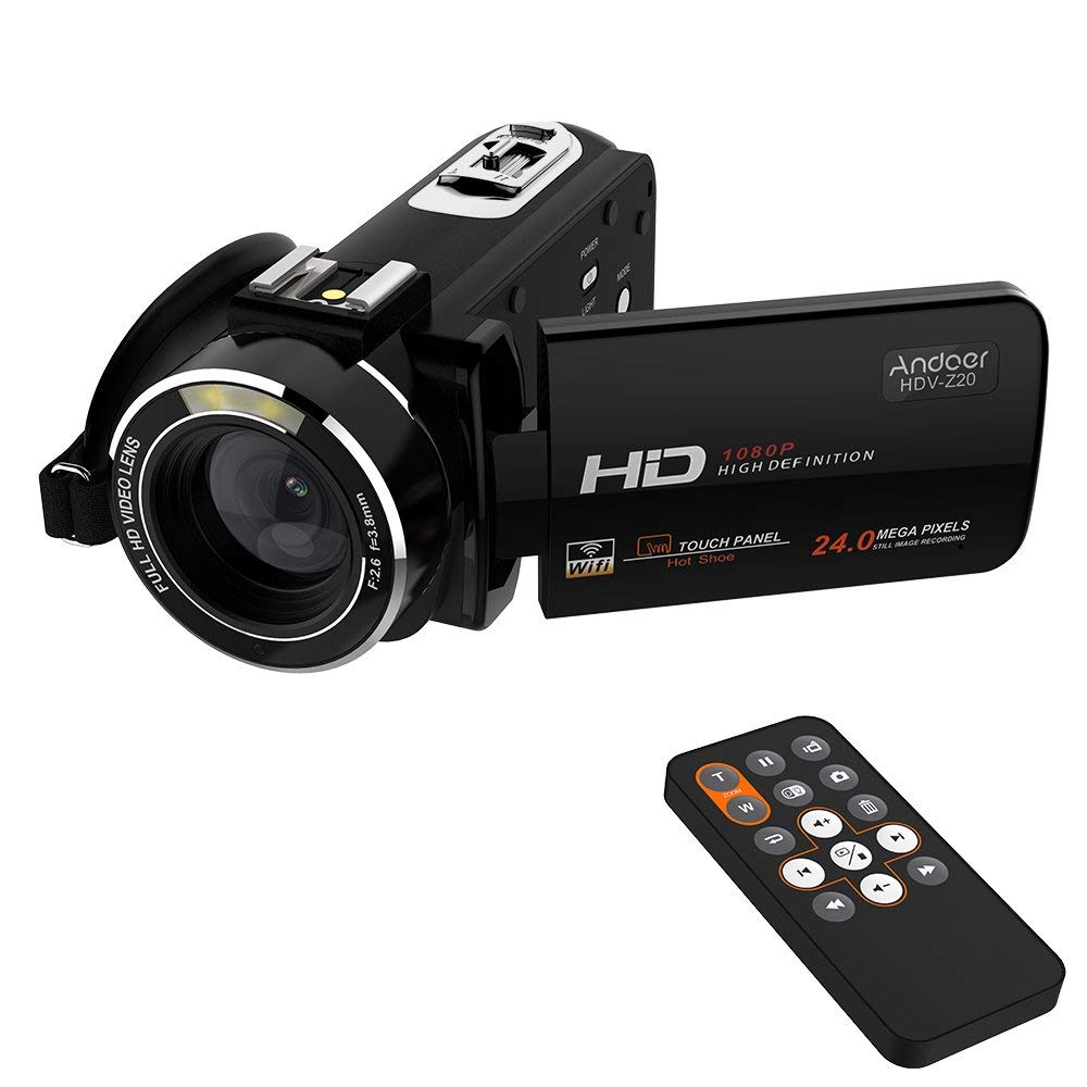 "Andoer HDV-Z20 Portátil 1080P Videocámara Digital Full HD Max 24 Mega Píxeles 16x Zoom Digital 3,0"" Pantalla Táctil LCD Rotativa con Control Remoto Apoyo WIFI Exclusivo Diseño de Hot Zapata"