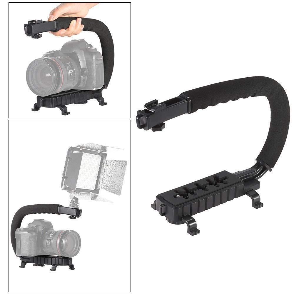 Andoer–Forma Cámara de vídeo de mano estabilizador Mango Sistema de Apoyo para Sony, Canon, Nikon DSLR Cámara Videocámara DV luces LED