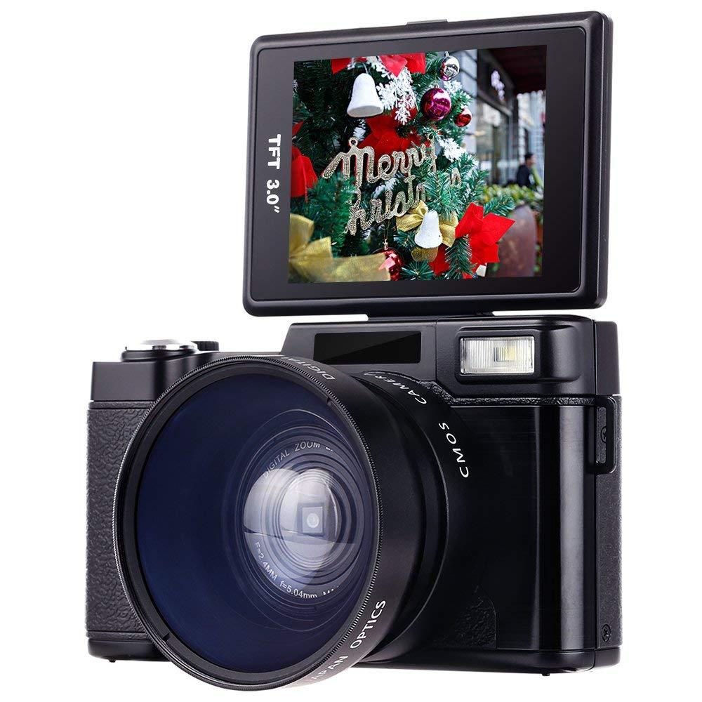 Cámara digital, videocámara Besteker Full HD 1080p 24.0MP videocámaras de video Mini LCD de 3.0 pulgadas con lente macro y luz de destello