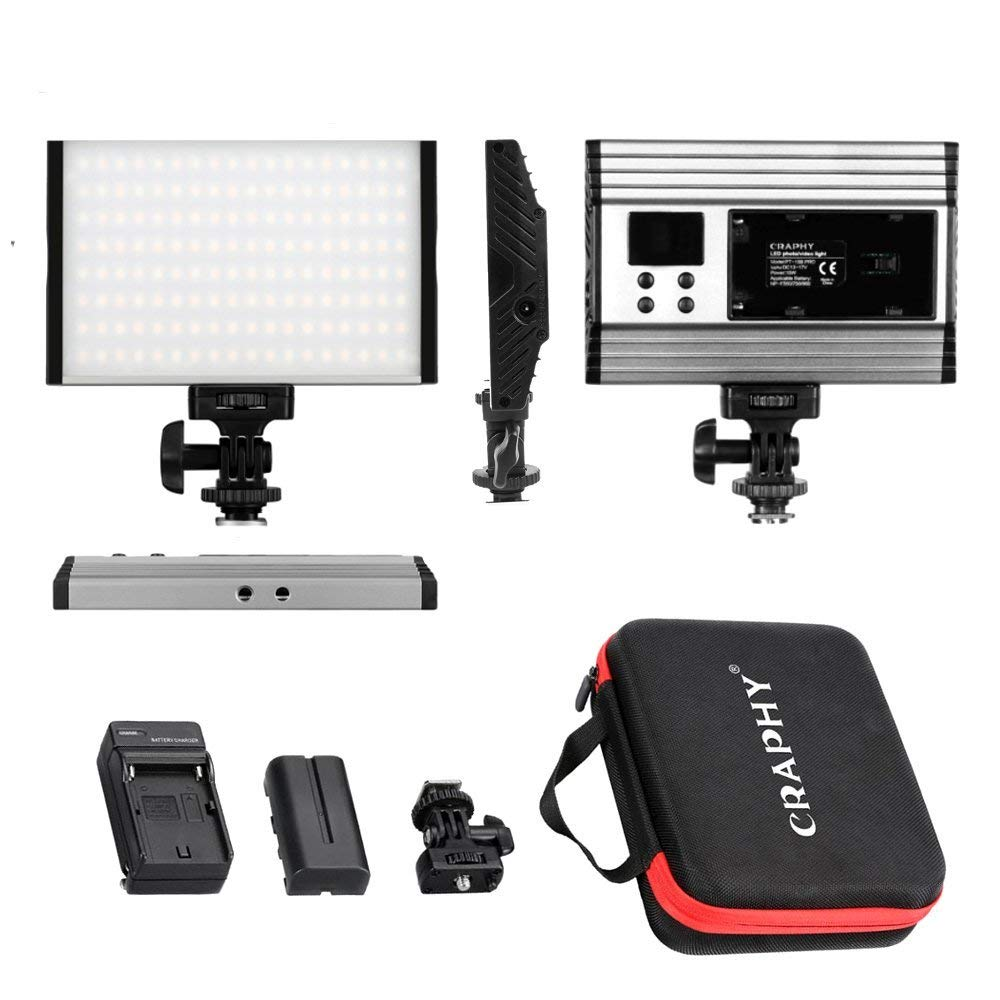 CRAPHY PT-15B 3200K-5600K Lámpara Regulable Luz de Video LED para Canon Nikon Sony Cámara DV Videocámara 144pcs Bi-Color con Cargador de Batería y Bolsa de Transporte
