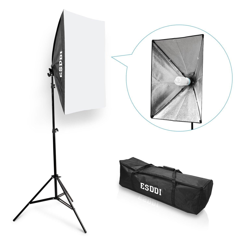 ESDDI Fotografia Softbox 50x70cm Continuo Kit lluminazione Boom Softbox Set Attrezzatura Fotografica Stavio+ Borsa (1 Set)