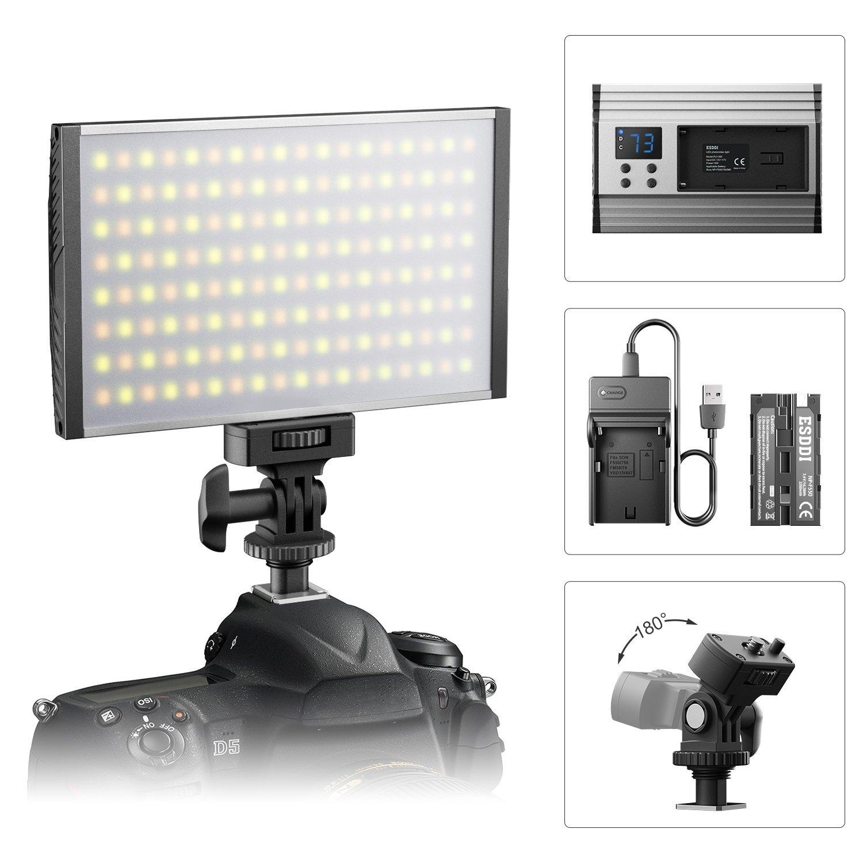 ESDDI luz LED de Video Cámara/Videocámara Panel para Iluminación en Estudio o en Exteriores, 3200K a 5600K Temperatura de Color Variable, CRI 95+,Carcasa de Aluminio anodizado Ultra Delgado