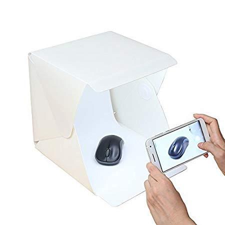 Gleading 24x23x22.6 cm Kit de Tienda Mini Cubo Estudio Foto Difusor Luz Suave Iluminación Caja de Fotografía , con 2 Telones de fondo (negro blanco) para Estudio Foto Video y Fotografía