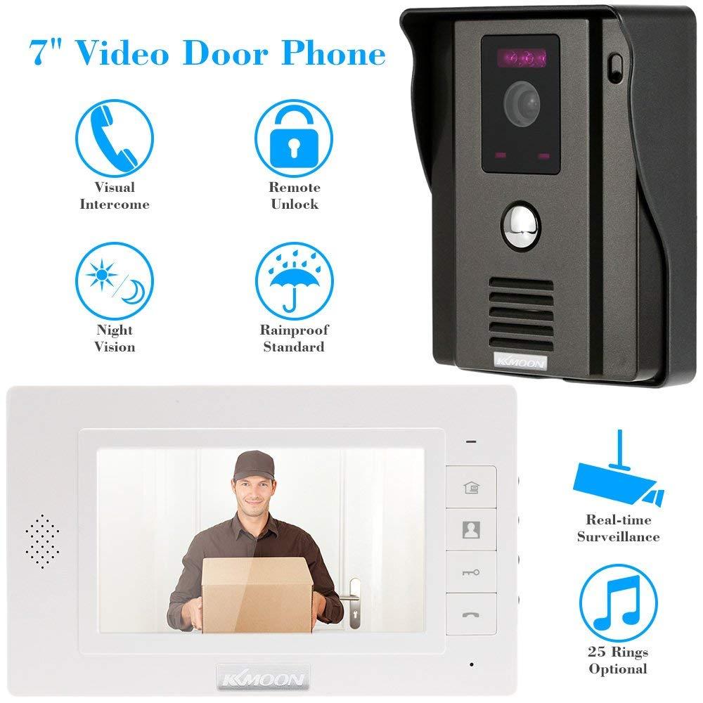 """KKmoon 7"""" Monitor TFT LCD Video Portero Interfono Intercom (Cámara de Vigilancia, Desbloqueo Remoto, Visión Nocturna, CCTV Seguridad Kit)"""