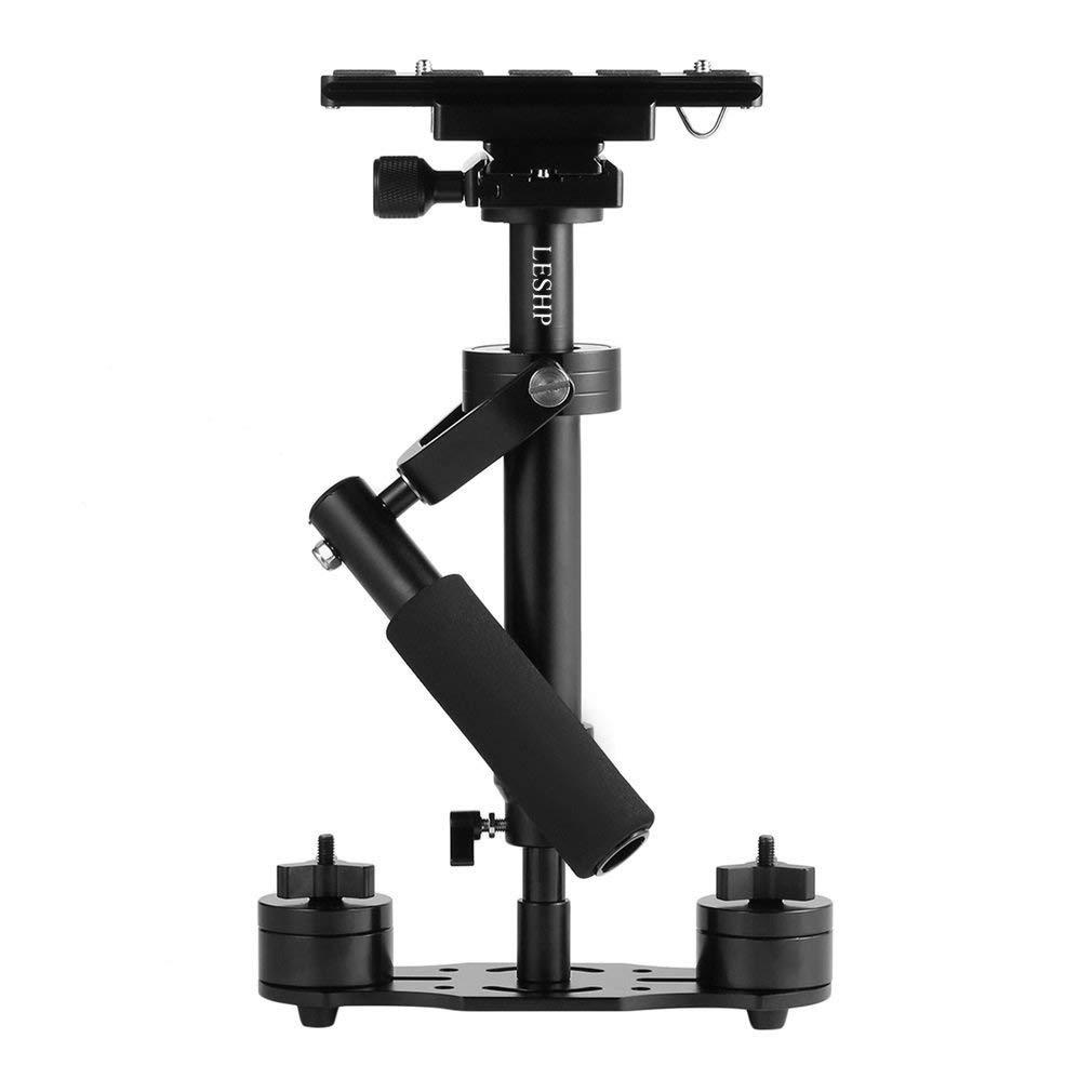 LESHP - Estabilizador de cámara de vídeo de bolsillo con placa de liberación rápida, tornillo de 1/4pulgadas para cámara de vídeo DVL DSLR Nikon, Canon, Sony, Panasonic (S-40), negro