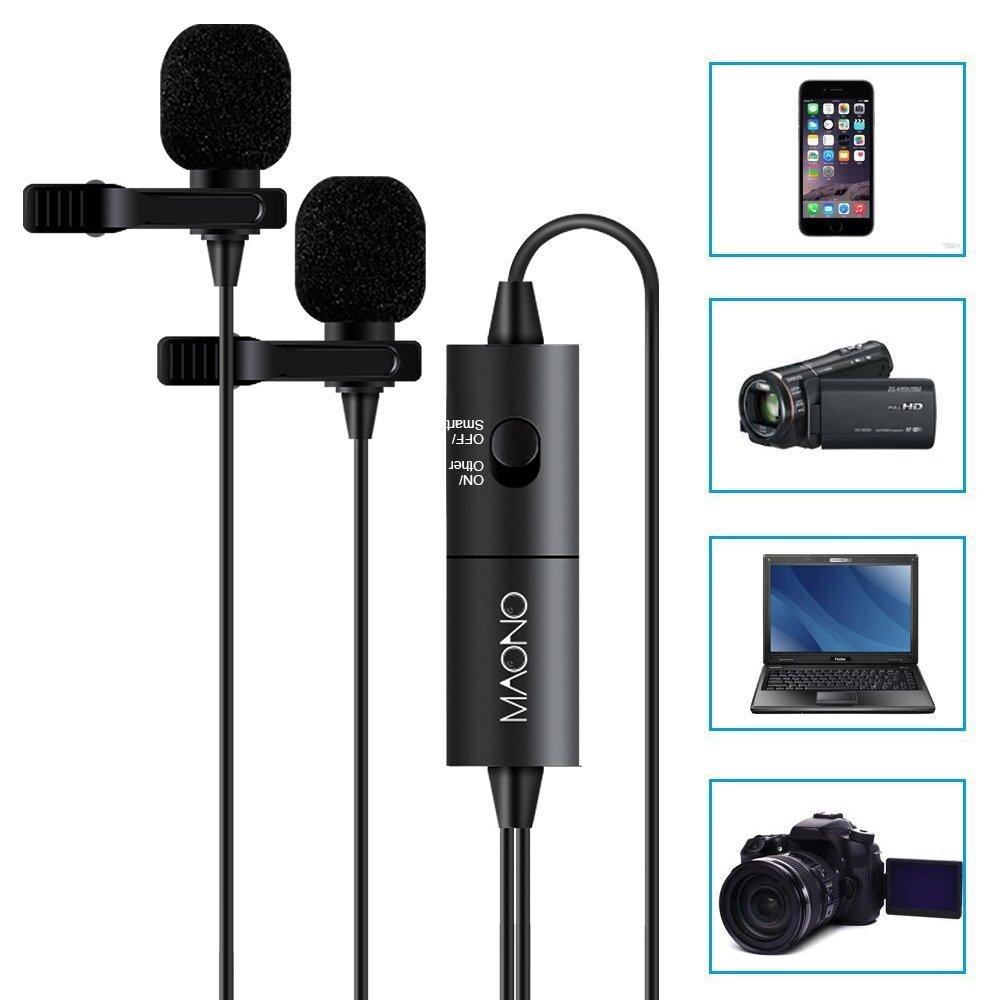 Maono - Micrófono de solapa con condensador omnidireccional, con una pinza para manos libres, diseñado para cámaras réflex digitales, cámaras, teléfonos iPhone, teléfonos Android, Samsung, Sony, PC, portátil (6 m)