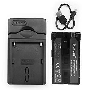 Moman NP-F550 Batería y Cargador para Videocamara Sony, Reemplazable NP-F330 NP-F530 NP-F570, Batería para Feelworld Monitor DSLR, Batería para Luz LED Video
